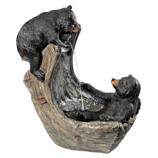 Resin Bathing Black Bear Cubs Cascading Garden Fountain with LED Light by Wildon Home ®