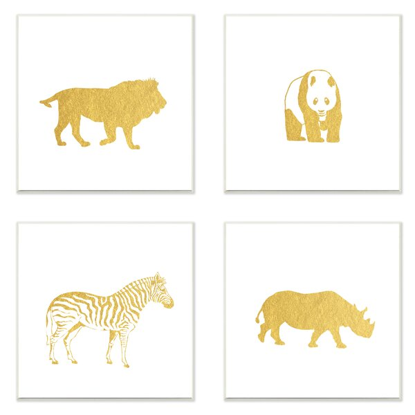 4 Piece Golden Animal Silhouettes Lion Panda Zebra Rhino Wall Plaque Set by Stupell Industries