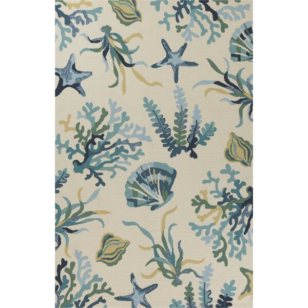 Boornazian Hand-Woven Ivory/Blue Indoor/Outdoor Area Rug by Highland Dunes