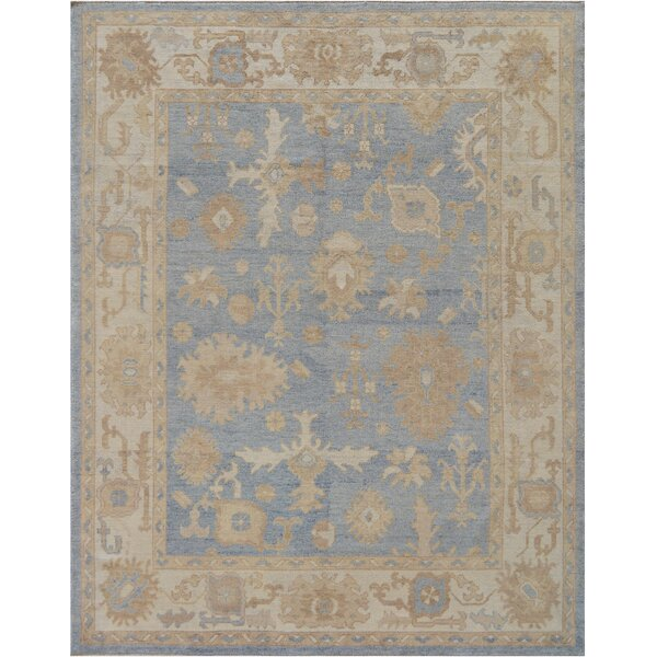 One-of-a-Kind Exceptional Oushak Handwoven Wool Blue Indoor Area Rug by Mansour