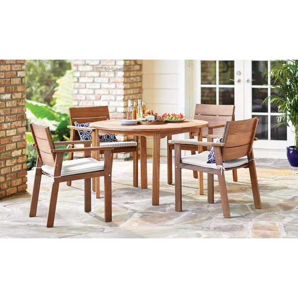 Imler 5 Piece Eucalyptus Dining Set with Cushions by Brayden Studio
