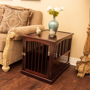 pet crate end table in walnut - Dog Crate Side Table