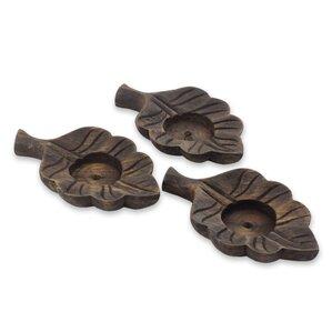 leaf motif laurel wood tealight set of 3