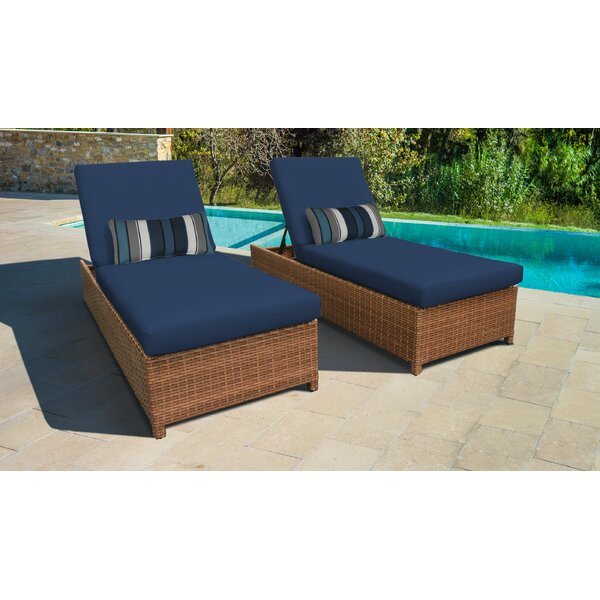Medina Wheeled Outdoor Wicker Reclining Chaise Lounge with Cushion (Set of 2) by Rosecliff Heights
