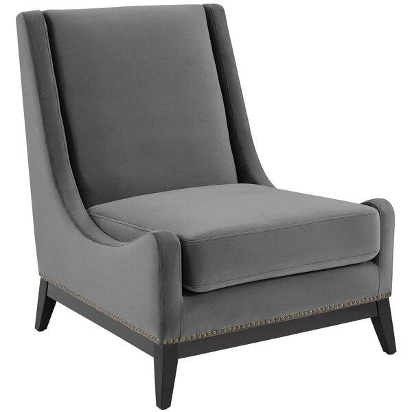 Alderman Upholstered Performance Velvet Lounge Chair by Everly Quinn