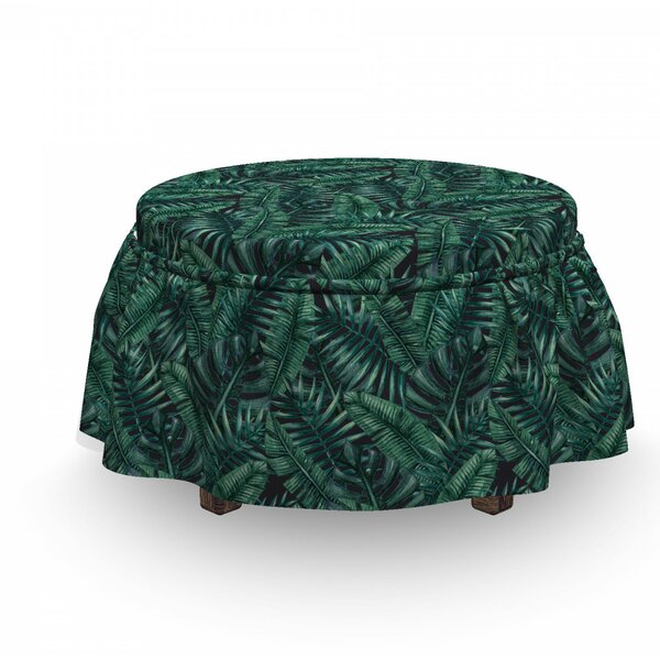 Palm Leaf Fresh Hawaii Summer 2 Piece Box Cushion Ottoman Slipcover Set By East Urban Home