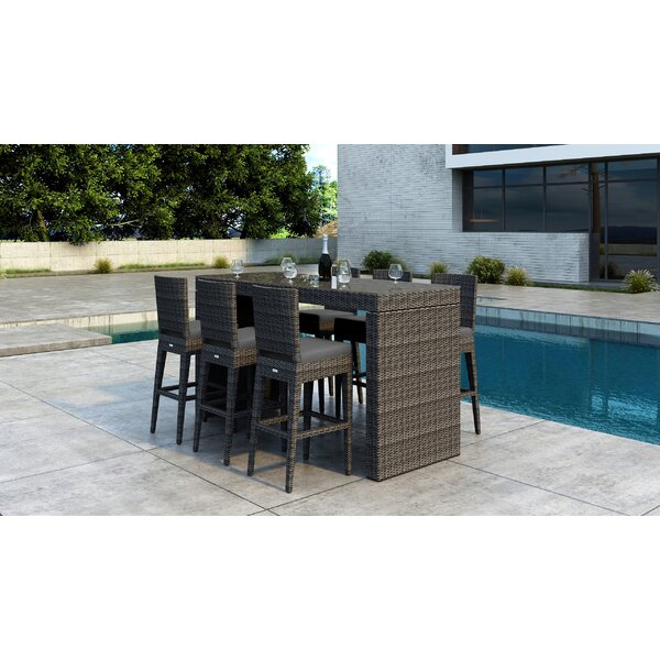 Gilleland 7 Piece Bar Height Dining Set with Sunbrella Cushion by Orren Ellis