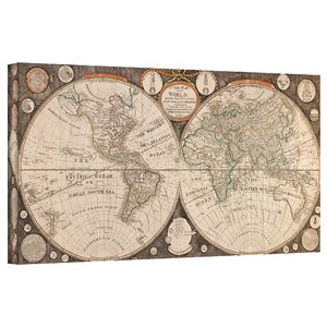 'A New Map of the World' Framed Graphic Art on Wrapped Canvas by Bay Isle Home