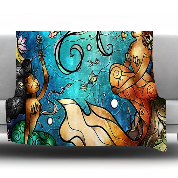 Under the Sea by Mandie Manzano Fleece Throw Blanket by KESS InHouse