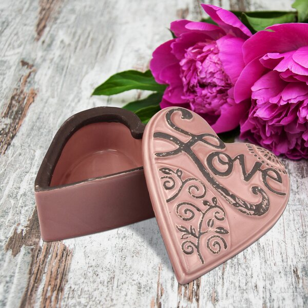 Coulson Ceramic Heart Shaped Love Decorative Box by Fleur De Lis Living
