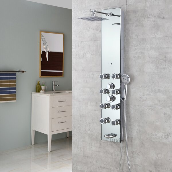 Tempered Glass Massage Tower Shower Panel System by Luxier