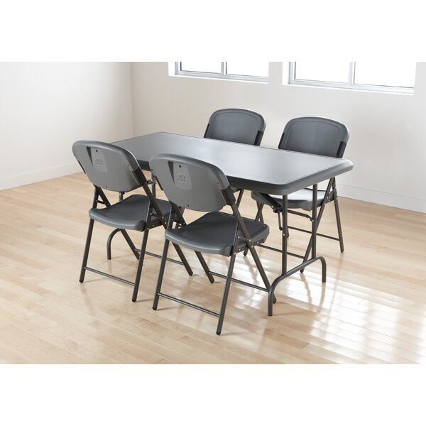 Folding Chair in Charcoal (Pack of 4) by Iceberg Enterprises