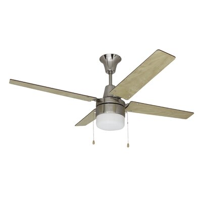 """48"""""""" Kamthe 4-Blade Ceiling Fan, Light Kit Included Union Rustic Finish: Brushed Chrome with Ash/Wenge Wood Blades -  UNRS4797 42844495"""