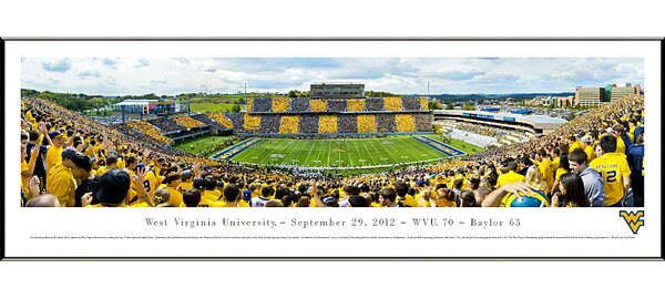 NCAA West Virginia University - Stripe Standard Framed Photographic Print by Blakeway Worldwide Panoramas, Inc