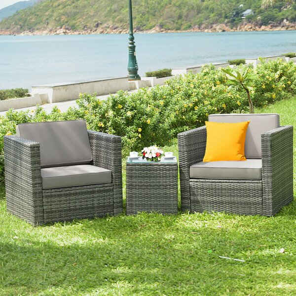 Dehanae Patio 3 Piece Rattan Seating Group with Cushions by Latitude Run