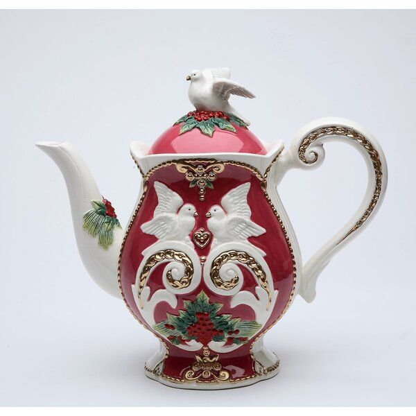 Cannock Christmas Earthenware Teapot by Three Post