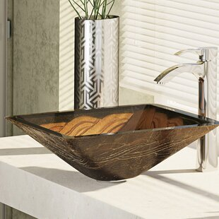 Top Metallic Glass Square Vessel Bathroom Sink with Faucet By René By Elkay
