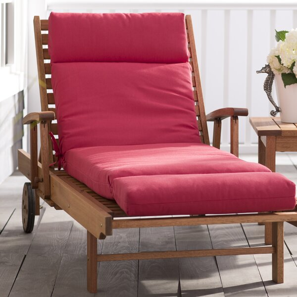Indoor/Outdoor Red Sunbrella Chaise Lounge Cushion by Beachcrest Home