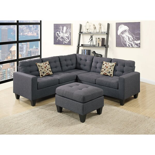 Moores Symmetrical Sectional With Ottoman By Ebern Designs