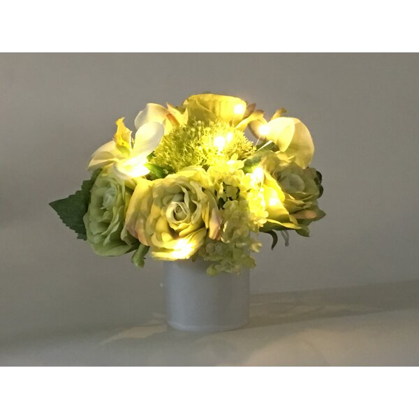 Artificial Silk Mixed Floral Arrangement with Star Lite in Decorative Vase by Ebern Designs