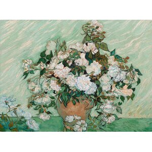 Roses 1890 by Vincent van Gogh Framed Painting Print on Wrapped Canvas by Trademark Fine Art