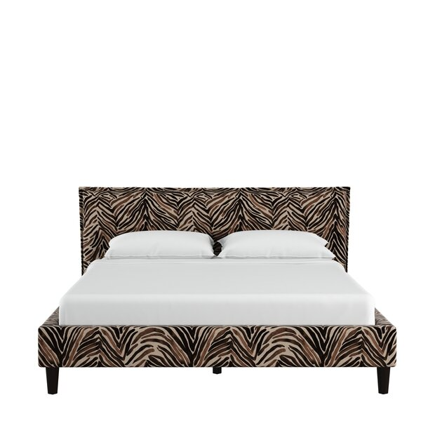 Genevie Seamed Washed Zebra Upholstered Standard Bed by Bloomsbury Market