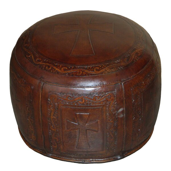 Roberto Handtooled Cross Leather Pouf by Bloomsbury Market Bloomsbury Market