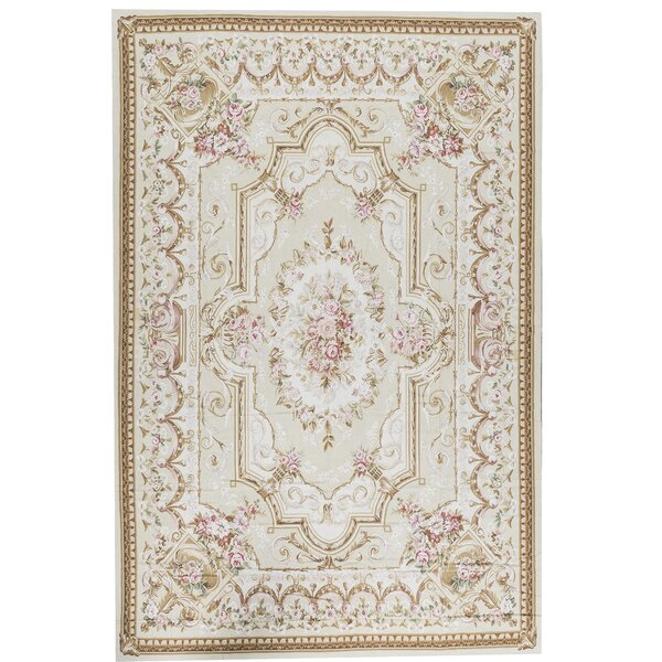 One-of-a-Kind Aubusson Renaissance Hand-Knotted Beige 10'10 x 16'3 Wool Area Rug