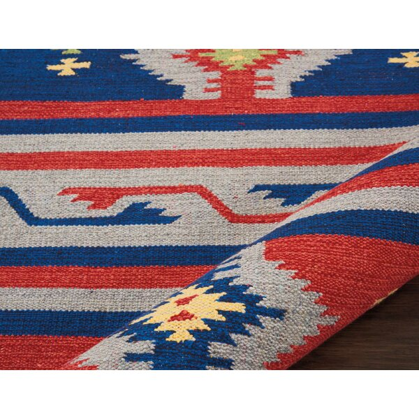 Rocky Hand-Woven Blue/Red Area Rug by Bungalow Rose