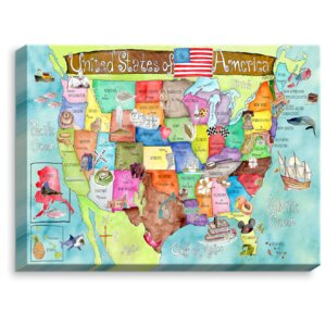 'United States MAP' by Marley Ungaro Painting Print on Wrapped Canvas by DiaNoche Designs