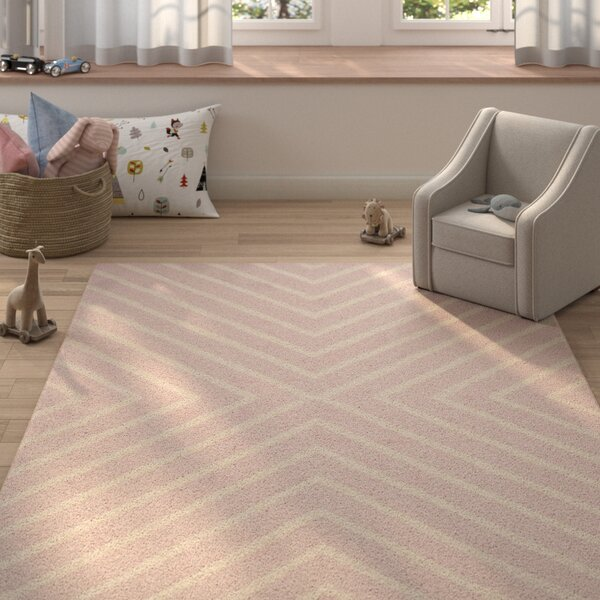 Claro X Pattern Hand-Tufted Pink/Ivory Area Rug by Harriet Bee