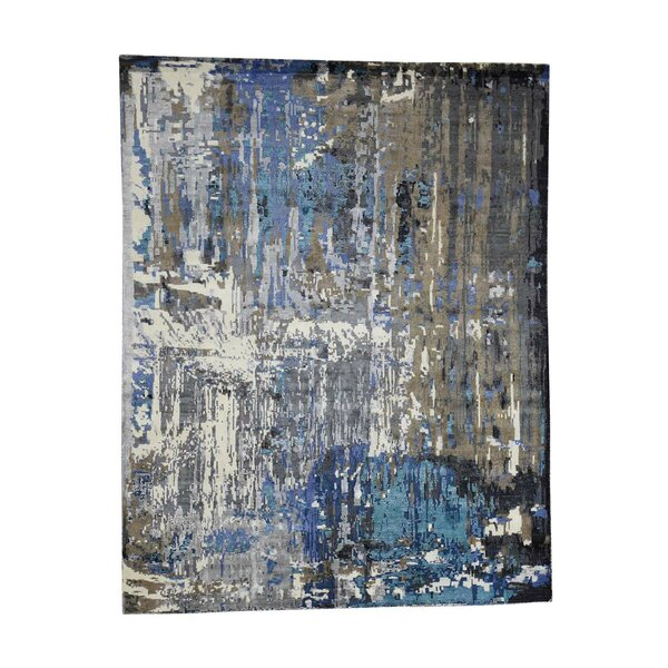 One-Of-A-Kind Nelligan Abstract Oriental Hand-Knotted Silk Brown Area Rug By Williston Forge.