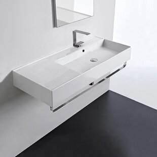 Reviews Ceramic 40'' Wall Mounted Bathroom Sink with Overflow By Scarabeo by Nameeks