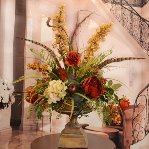 Large Silk Flower Arrangement with Feathers by Floral Home Decor