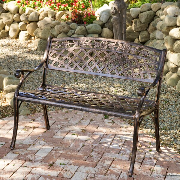 Caffey Cast Aluminum Garden Bench by Alcott Hill