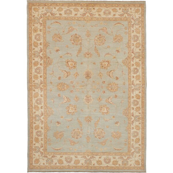 One-of-a-kind Dominga Hand-Knotted Wool Light Blue Area Rug by Isabelline