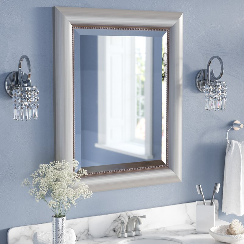 Willa arlo interiors rectangle curved silver bathroom wall mirror reviews wayfair for Silver framed bathroom mirrors