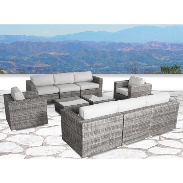 Deandra 10 Piece Rattan Sectional Seating Group with Cushions by Sol 72 Outdoor
