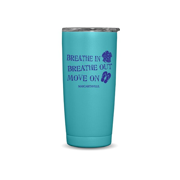 Margaritaville Breathe in Breathe out Move on Double Wall Travel Mug by Rico Industries Inc
