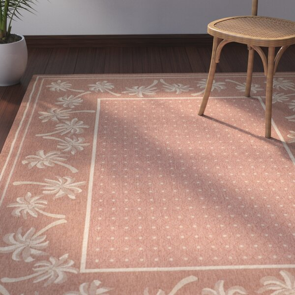 Amaryllis Powerloomed Rust/Sand Outdoor Rug by Bay Isle Home