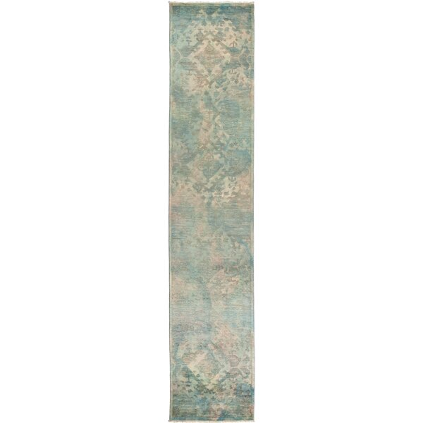 One-of-a-Kind Stewart Hand Knotted Wool Green Area Rug by Isabelline