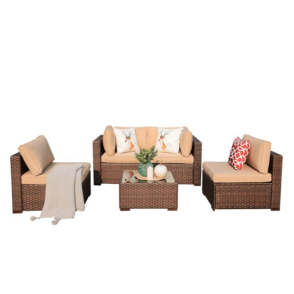 Alisher 5 Piece Rattan Sectional Seating Group with Cushions by Latitude Run