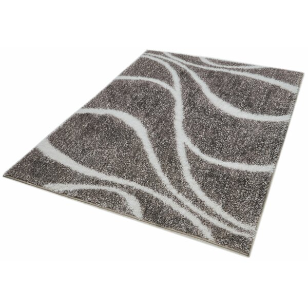Puentes Shag Abstract Lines and Waves Gray Area Rug by Wrought Studio