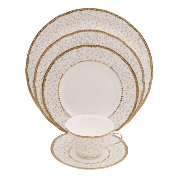 Flores 5 Piece Bone China Place Setting, Service for 1 (Set of 4) by Shinepukur Ceramics USA, Inc.