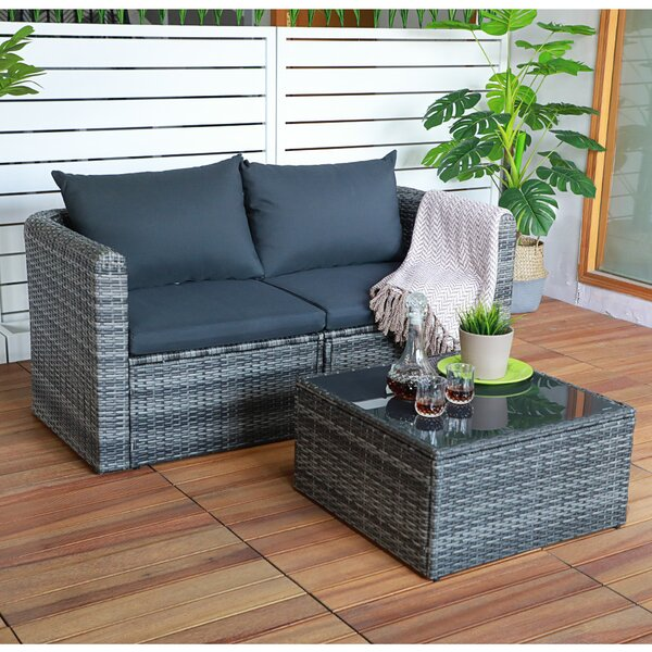 Gridley 3 Piece Rattan Seating Group With Cushions By Ebern Designs by Ebern Designs