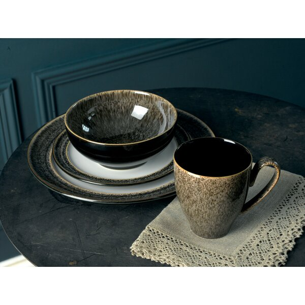 Praline and Praline Noir 4 Piece Place Setting, Service for 1 by Denby