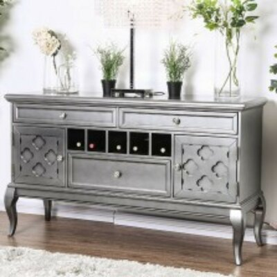 """House of Hampton Suzan 59"""" Wide 3 Drawer Walnut Wood Buffet Table  Color: Silver"""
