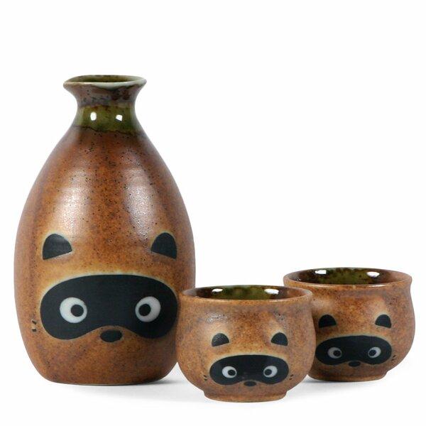 3-Piece Tanuki Raccoon Sake Set by Miya Company