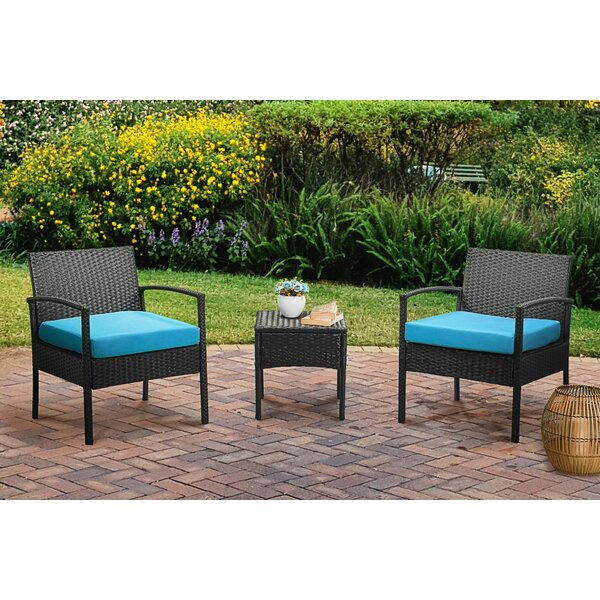 Calluna 3 Piece Rattan Seating Group with Cushions by Red Barrel Studio