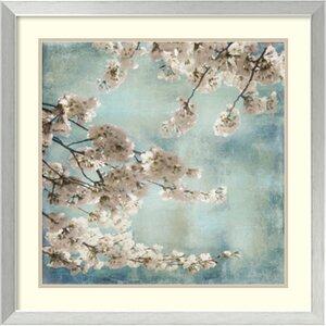 'Aqua Blossoms II' Framed Painting Print by Three Posts